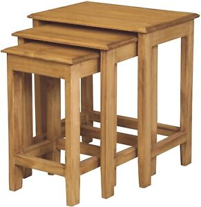 3 Solid Pine Nesting Tables