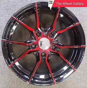 Hussla Spider 15x6.5 Red Machine Face Inc MOMO Tyres Campbellfield Hume Area Preview
