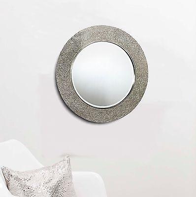 Round Crackle Mirror Mosaic Silver Frame 40 x 40cm Bedroom Bathroom Hall Home ()