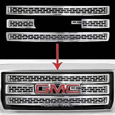 Gmc Grill - 2014-15 GMC Sierra 1500 CHROME Snap On Grille Overlay 3 Bar Grill Covers Inserts