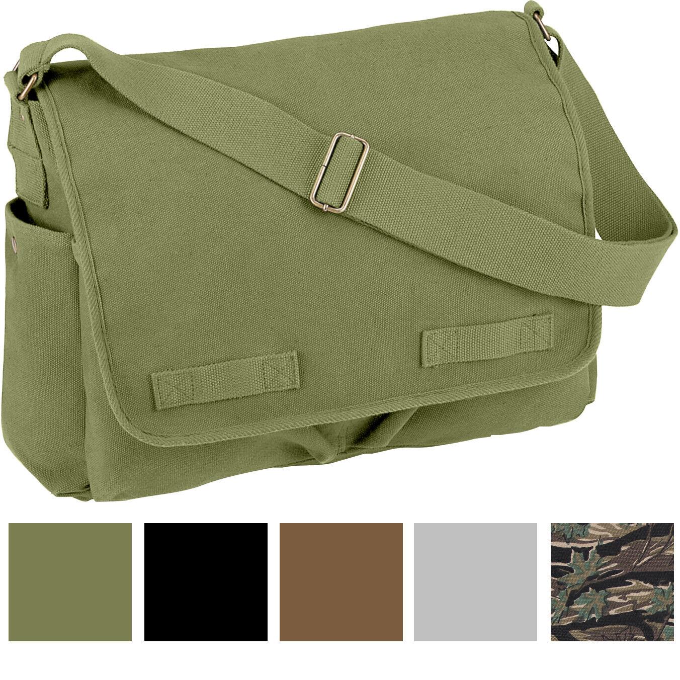 Vintage Canvas Messenger Bag Heavyweight Military Shoulder School Satchel Sling Bags