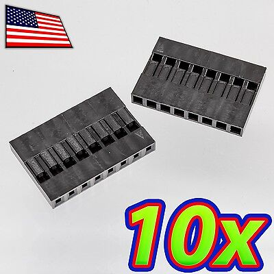 10x Dupont Wire Jumper Pin Header Connector Housing - 1x8 - Male Female