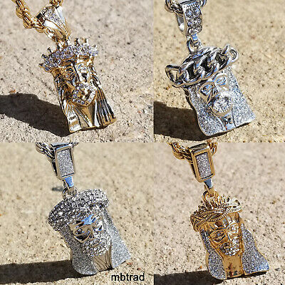 Gold Finish Mini Micro Jesus Piece Small Pendant iced out Necklace Chain hip hop (Hip Hop Gold Chain)