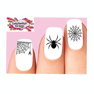 Waterslide Nail Decals Art Set of 20 - Halloween Black Spider Web Assorted - Halloween Nails Spider Web