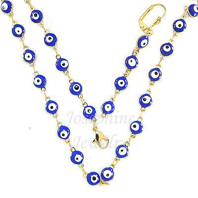 14k Gold Plated Blue Lucky Enamel Evil Eye Beads Necklace Bracelet Earring Set ()