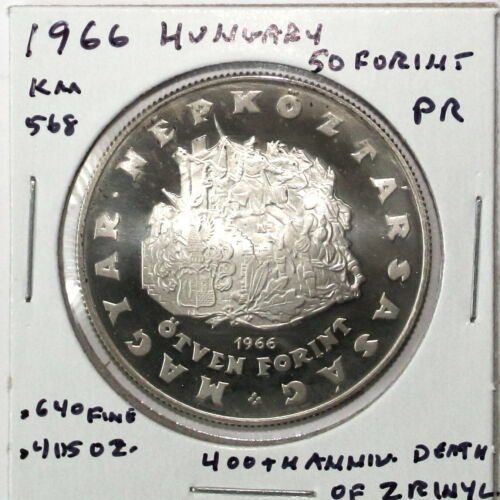 1966 Hungary 50 Forint Silver Coin Proof Zrinyl Commem KM568
