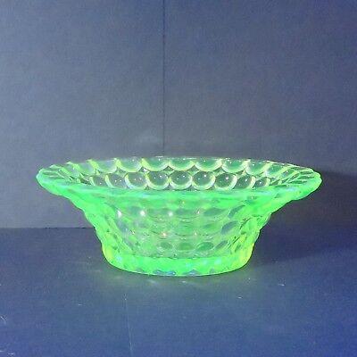 Adams 1000 Eye Small Bowls/ Berry Bowl, Yellow Vaseline Glass - Circa 1891
