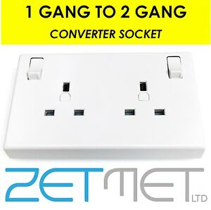 Single To Twin Double 13 Amp Mains Plug Switched Socket Converter 1 To 2 Gang