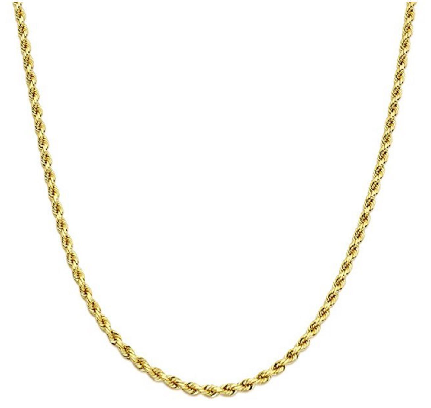 10K Yellow Gold 1.8mm – 8mm Men's Women's Hollow Diamond Cut Rope Chain Necklace Fine Jewelry