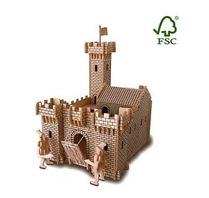 Medieval Castle + 2 Knights Woodcraft Construction Kit 3D Wooden Model. FSC