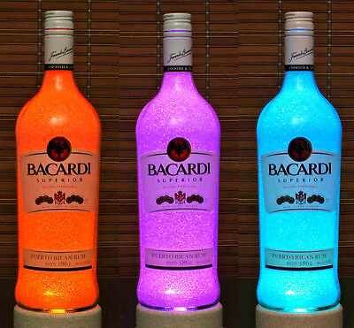 Bacardi  Rum Color Changing Remote Control Liquor Bottle Lamp Bar Light Accent