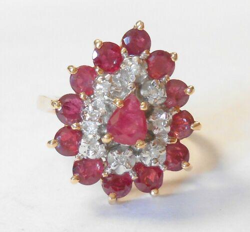 Estate 14K Yellow Gold High Grade Ruby Diamond Cluster Teardrop Ring Size 6.75