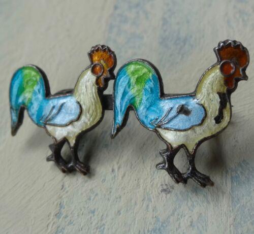 antique French SILVER enamel multi colour cockerel chicken brooch c pin -X81