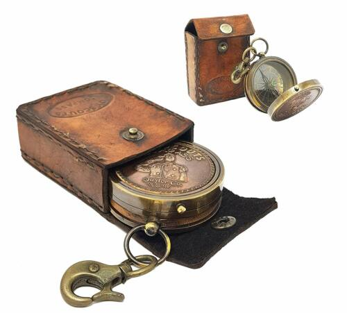 BOY SCOUT Collectible Antique Compass Marine With Leather Case Maritime Gift
