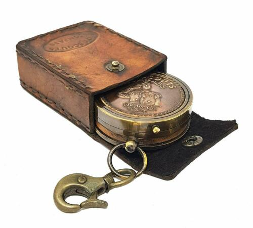 Brass Nautical American Boy Scout Compass W/Scout Oath in Leather case