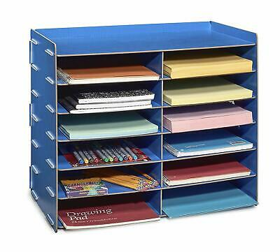 Adiroffice Blue Wood Office Paper Storage 12 Shelf File Desk Stand Organizer