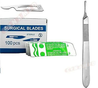 100 Scalpel Blades 15c Handle 3 Suitable For Dermaplaning Surgical Knife