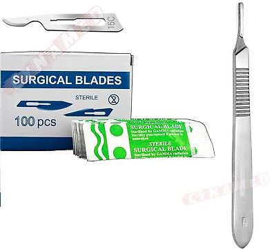 100 Pcs Scalpel Blades 10 15c Handle 3 Suitable For Dermaplaning Surgical