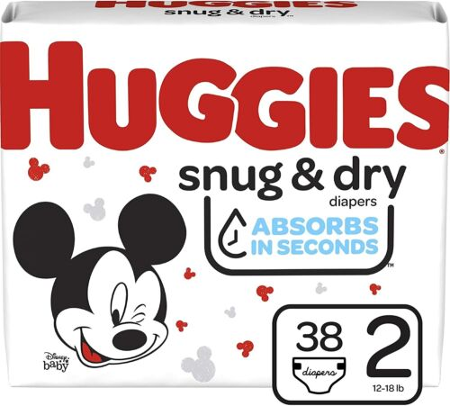 Huggies Snug and Dry Diapers Size 2 12-18 LBS Wet to Dry in 10 Seconds New