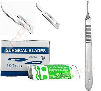 100 Scalpel Blades 10 15 Free Handle 3 Suitable For Dermaplaning