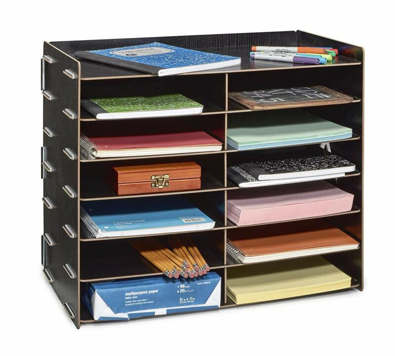 AdirOffice Black Wood Office Paper Storage 12 Shelf File Desk Stand Organizer