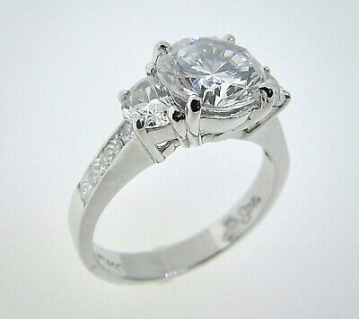 JB STAR Platinum Half Moon Diamond Engagement Ring -