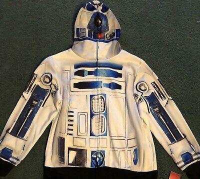 NWT Boys L White/Gray/Blue R2-D2 Print Star Wars Costume Hoodie Sweatshirt