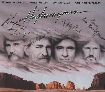 The Highwaymen Johnny Cash Willie Nelson,EXTREMELY RARE ALL (4) SIGNED RP 8x10!!