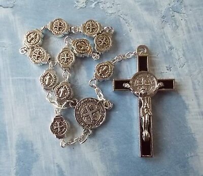 Catholic/Travel Antique Silver St.Benedict Beads Cross one decade rosary