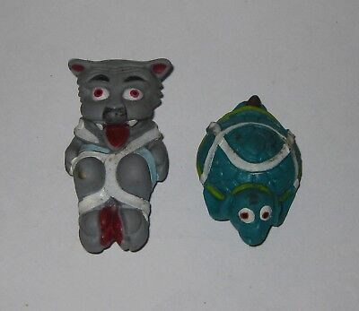 1989 Fundex SHOE MONSTERS Lace/Velcro Clip-Ons BOOTS BEARCAT/WINGTIP TURTLE Toys - Clip On Shoe Laces