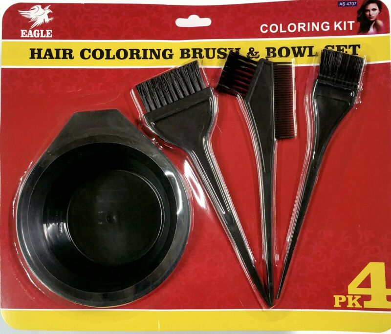 Hair Dye Color Brush Bowl Combo Coloring Brush Kit 4 pieces Set Tint Tool Bleach