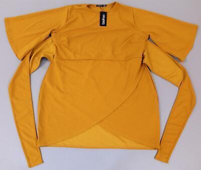 Boohoo Women's Plus Kimono Sleeve Tie Waist Wrap Dress SH3 Yellow Size US:20 NWT