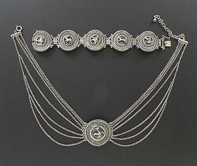 VTG Medallion 925 Silver Chain Choker Necklace Bracelet Set Art Deco Deer Eagle