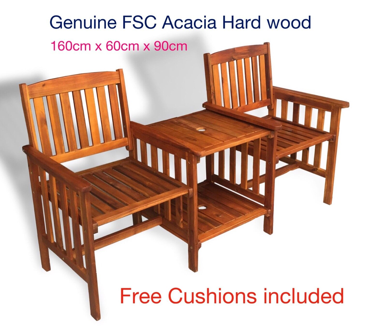2 Seater Wooden Love Seat Chair Garden Furniture Wood Patio Outdoor With Table