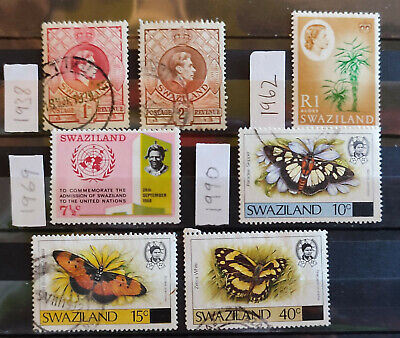 Swaziland 1938-90, 7 stamp selection USED(5) MH(2)