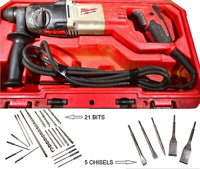 Milwaukee Corded Sds Plus Rotary Hammer Drill 5262-20 With 21 Bits And 5 Chisels