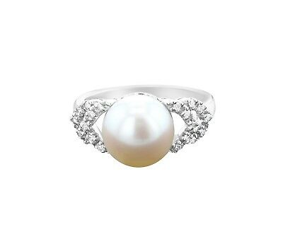 10 Mm Pearl Ring - FRESHWATER WHITE PEARL Diamond Ring - 10MM - .10cttw - size 7 - 14k White Gold