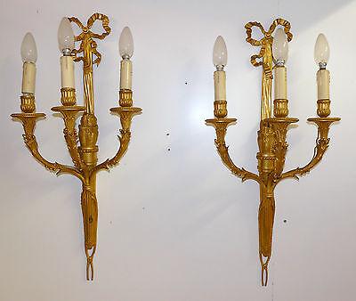 Louis XVI Wandapplikationen, feuervergoldet, Klassizismus, 3-Flammig, 68,0 cm