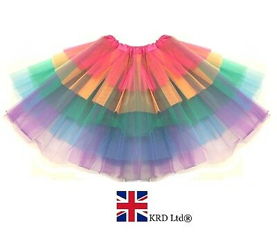Supremes Fancy Dress Kostüme (Supreme Ruffle LAYERED RAINBOW TUTU Ra Ra Skirt Pride Party Fancy Dress CH UK)