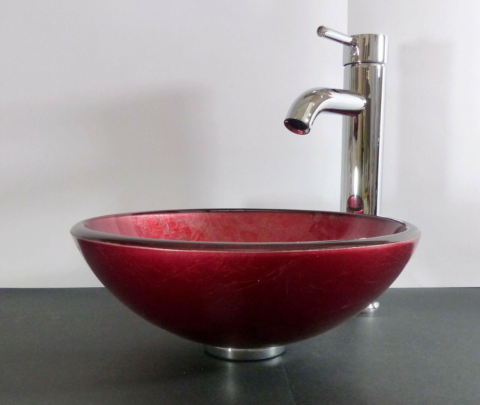 Aufsatz Glas Waschschale Waschbecken Waschtisch klein rot rund Wohnmobil Bad WC