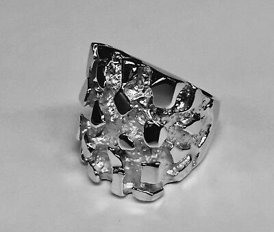 18kt Solid White Gold Handmade Men's Nugget Design Fashion ring 50 Grams 28MM