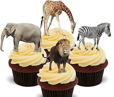 African Safari Animals Edible Cupcake Toppers - Stand-up Cake Decorations Jungle (Safari Cupcake Toppers)