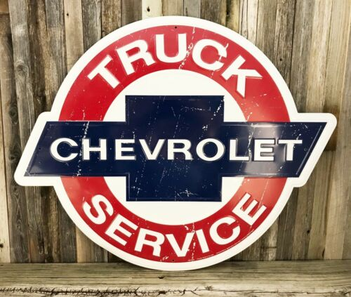 "Chevrolet Chevy Truck Service Embossed Metal Tin Sign Large 24"" Vintage Garage"