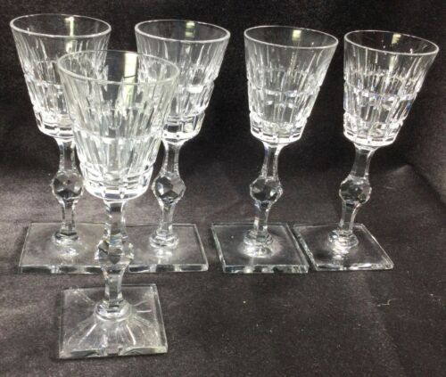 "5 Hawkes VERNAY 6 3/4"" Wine Glasses Very Good Condition Signed"