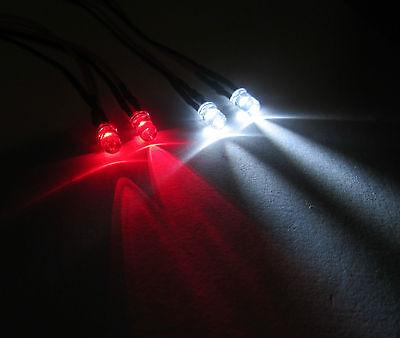 R/C Buggy Car Truck LED Light Kit / 2x Red 2x White 5mm LED's Switch + PP3  Clip