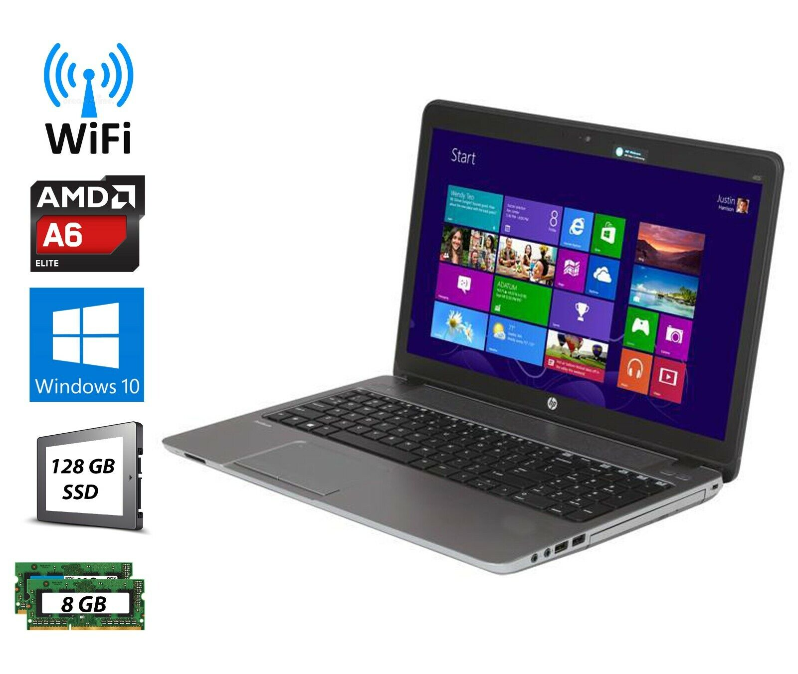 "Laptop Windows - HP ProBook 455 G1 15.6"" AMD A6 Laptop 8GB 128GB SSD Windows 10 Pro DVD Webcam"