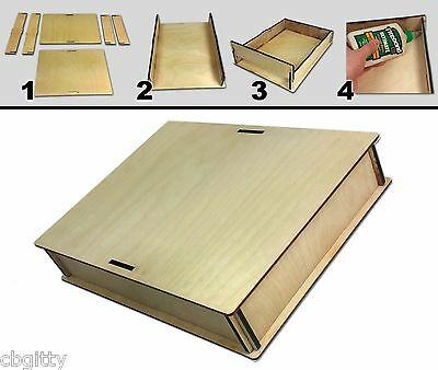 "9 x 12"" Acoustic Wooden Box Kit - Easy to Assemble & great for Cigar Box Guitars"