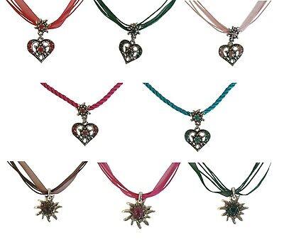 Kette Edelweiss Herz Trachtenkette Halskette Anhänger Oktoberfest Dirndl Schmuck