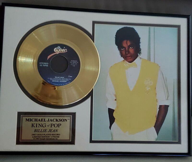 Michael Jackson 24K Gold-Plated Framed Billie Jean 45rpm, 8x10 Photo. #1579/2500