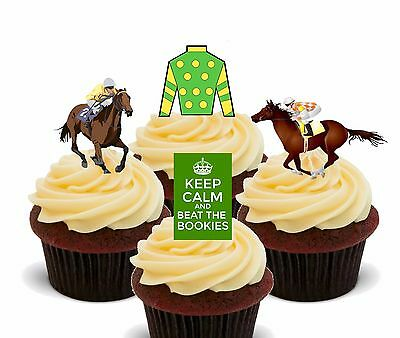 Horse Racing Edible Cup Cake Toppers, Standup Fairy Decorations Grand - Horse Racing Cake Decorations